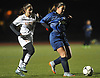 Rachel Yaker #15 of Sachem East, left, and Lydia Almeida #24 of West Hempstead battle for a loose ball during Game 2 of two Long Island varsity girls soccer senior all-star games at Farmingdale State College on Friday, Nov. 24, 2017.