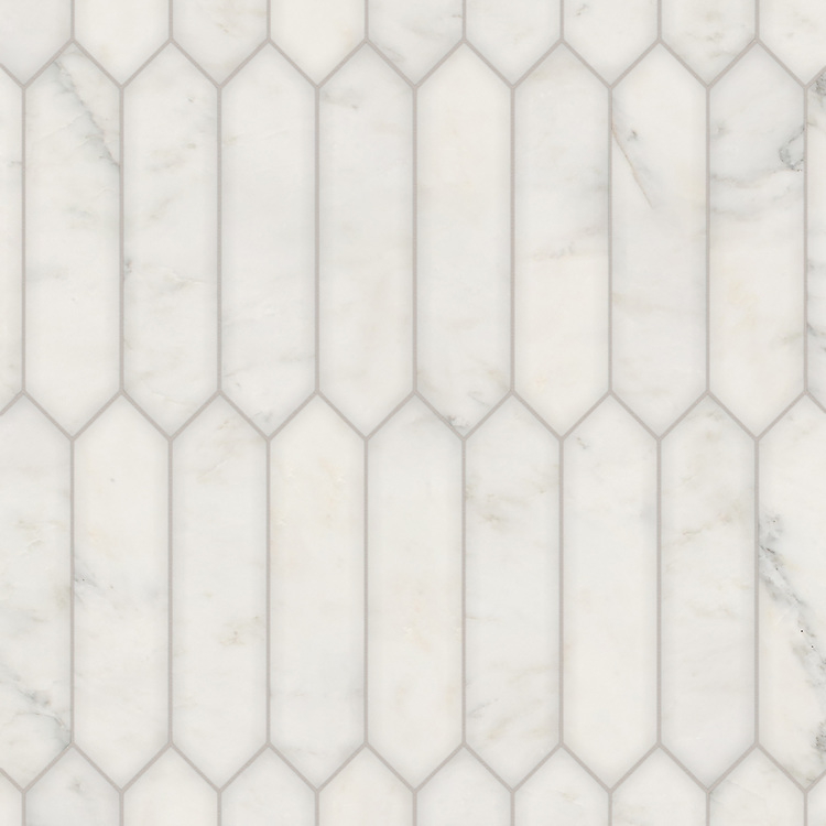 Picket, a hand-cut stone mosaic, shown in polished Calacatta Radiance, is part of the Semplice® collection for New Ravenna.