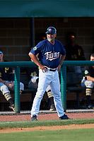 Elizabethton Twins batting coach Jeff Reed (1) during a game against the Bristol Pirates on July 28, 2018 at Joe O'Brien Field in Elizabethton, Tennessee.  Elizabethton defeated Bristol 5-0.  (Mike Janes/Four Seam Images)