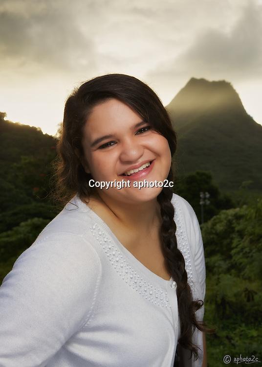 Juenea Dement senior portraits taken early on Veterans Day 2014 at Maunawili Park, Kailua Oahu.