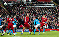 Liverpool's Dejan Lovren scores his side's equalising goal to make the score 1-1<br /> <br /> Photographer Alex Dodd/CameraSport<br /> <br /> UEFA Champions League Group E - Liverpool v Napoli - Wednesday 27th November 2019 - Anfield - Liverpool<br />  <br /> World Copyright © 2018 CameraSport. All rights reserved. 43 Linden Ave. Countesthorpe. Leicester. England. LE8 5PG - Tel: +44 (0) 116 277 4147 - admin@camerasport.com - www.camerasport.com