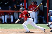 Ryan Raslowsky #2 of the Cal State Northridge Matadors bats against the UC Santa Barbara Gauchos at Matador Field on May 12, 2013 in Northridge, California. Cal State Northridge defeated UC Santa Barbara 7-1. (Larry Goren/Four Seam Images)