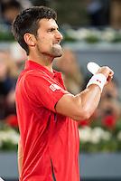 Serbian Novak Djokovic celebrating the victory during ATP Semi-Finals Mutua Madrid Open Tennis 2016 in Madrid, May 07, 2016. (ALTERPHOTOS/BorjaB.Hojas) /NortePhoto.com