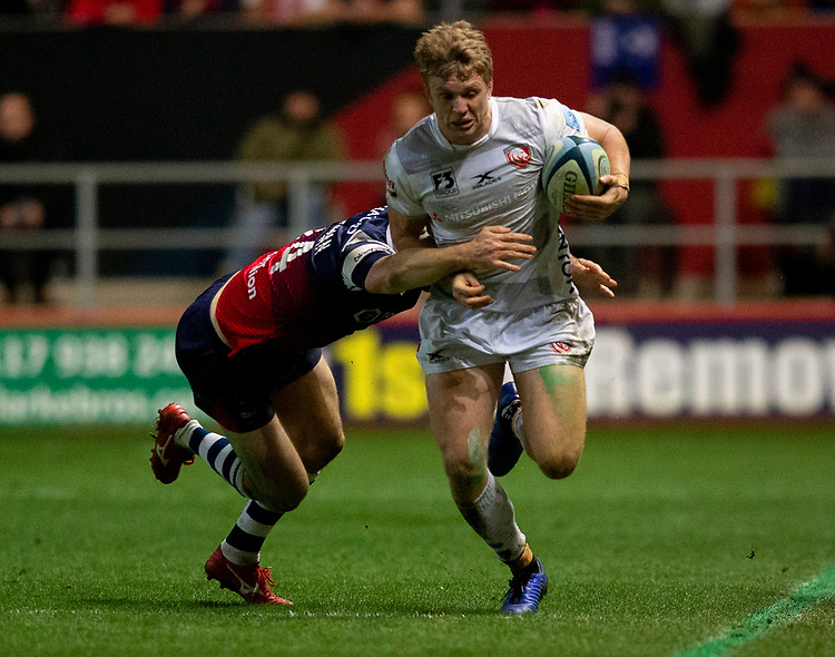Gloucester's Ollie Thorley in action during todays match<br /> <br /> Photographer Bob Bradford/CameraSport<br /> <br /> Gallagher Premiership - Bristol Bears v Gloucester Rugby - Friday 1st March 2019 - Ashton Gate - Bristol<br /> <br /> World Copyright © 2019 CameraSport. All rights reserved. 43 Linden Ave. Countesthorpe. Leicester. England. LE8 5PG - Tel: +44 (0) 116 277 4147 - admin@camerasport.com - www.camerasport.com