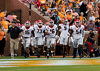 KNOXVILLE, TN - OCTOBER 5: Georgia players are lead onto Neyland Stadium by head coach Kirby Smart during a game between University of Georgia Bulldogs and University of Tennessee Volunteers at Neyland Stadium on October 5, 2019 in Knoxville, Tennessee.