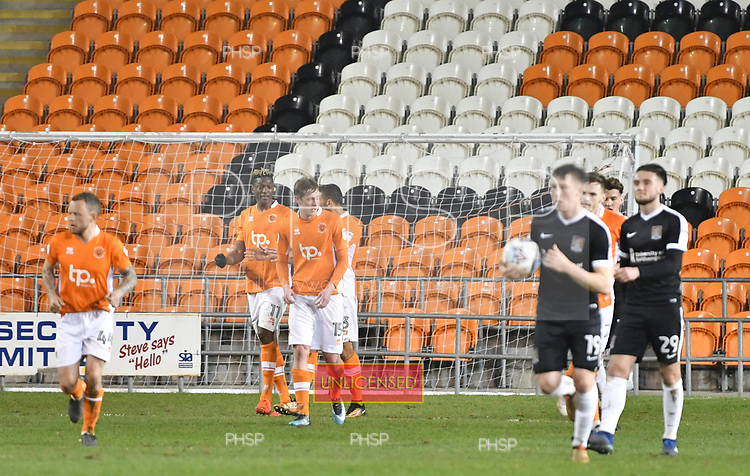 10/04/2018 Sky Bet League 1 Blackpool v Northampton Town<br />Armand Gnanduillet celebrates after scoring Blackpool&rsquo;s first goal