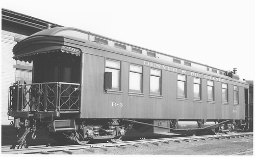 Business car B-3 (2nd) at Alamosa, CO.<br /> D&amp;RGW  Alamosa, CO  Taken by Ward, Bert H. - 7/10/1946