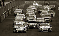 Jim Beam Racing's Steven Johnson (front left) and James Courtney (front right) lead the field at the start of the feature race during Day Three of the Hamilton 400 Aussie V8 Supercars Round Two at Frankton, Hamilton, New Zealand on Sunday, 19 April 2009. Photo: Dave Lintott / lintottphoto.co.nz
