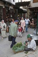Afrique/Afrique du Nord/Maroc/Fèz: Dans la médina de Fèz-El-Bali place Seffarine quartier des chaudronniers marchand d'herbes et de menthe pout le thé