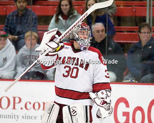 Raphael Girard (Harvard - 30) - The Harvard University Crimson and Quinnipiac University Bobcats played to a 2-2 tie on Saturday, November 5, 2011, at Bright Hockey Center in Cambridge, Massachusetts.