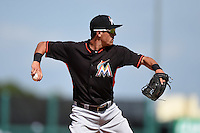 Miami Marlins third baseman Aaron Blanton (99) during a Spring Training game against the Detroit Tigers on March 25, 2015 at Joker Marchant Stadium in Lakeland, Florida.  Detroit defeated Miami 8-4.  (Mike Janes/Four Seam Images)