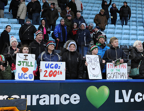 12.01.2013 London, England. Harlequins supporters hold banners referencing Ugo Monye after his 200th game for Harlequins in the Heineken Cup game between Harlequins and Connacht Rugby from The Stoop.