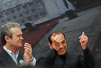 march, 15. Rome, Corviale. Electoral campaign. Alfredo Antoniozzi, province president candidate for PdL with Silvio Berlusconi. © Claudio Vitale .