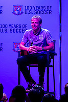 Kansas City, MO - Thursday, Oct 10, 2013: US Soccer holds an USMNT fan pep rally at the Power & Light District before their match vs. Jamaica.