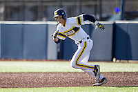 Michigan Wolverines third baseman Jake Bivens (18) runs to second base against the Central Michigan Chippewas on March 29, 2016 at Ray Fisher Stadium in Ann Arbor, Michigan. Michigan defeated Central Michigan 9-7. (Andrew Woolley/Four Seam Images)