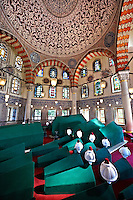 The Tomb & sacrophaguses of Ottoman  Sultan Murad III and his family in the outer courtyard of Aya Sophia. Built in in 1599 by Architect Davud Agha and his assistant Dalgıç Ahmet Agha, it is one of the largest Ottoman tombs with its hexagon layout and İznik ceramic tiles, double domes, Istanbul, Turkey