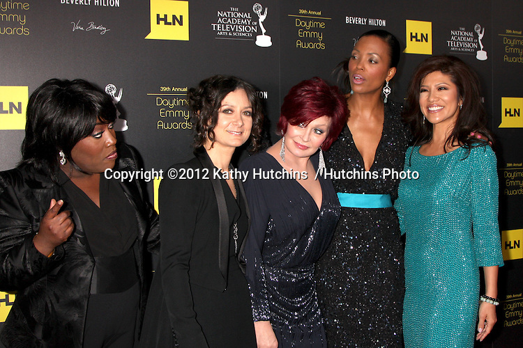 LOS ANGELES - JUN 23:  Sheryl Underwood, Sara Gilbert, Sharon Osbourne, Aisha Tyler, Julie Chen arrives at the 2012 Daytime Emmy Awards at Beverly Hilton Hotel on June 23, 2012 in Beverly Hills, CA