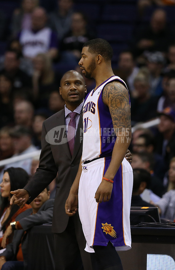 Jan. 24, 2013; Phoenix, AZ, USA: Phoenix Suns interim head coach Lindsey Hunter with forward Markieff Morris against the Los Angeles Clippers at the US Airways Center. The Suns defeated the Clippers 93-88. Mandatory Credit: Mark J. Rebilas-USA TODAY Sports