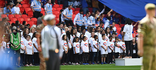 August 6th 2017, Wembley Stadium, London, England; FA Community Shield Final; Arsenal versus Chelsea; the Grenfell choir sings before kick off