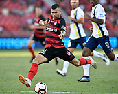 9th February 2019, Spotless Stadium, Sydney, Australia; A League football, Western Sydney Wanderers versus Central Coast Mariners; Jaushua Sotirio of the Western Sydney Wanderers breaks free and shoots to score to make it 2-0