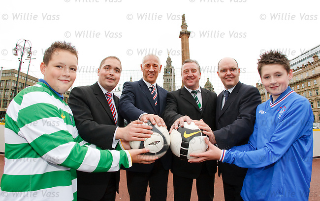 Mark Hateley and George McCluskie in George Square with councillors Paul Rooney and Jonathan Findlay and kids Connor Smith (L) and Marc McMahon( R) both 14