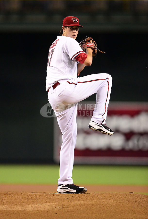 Aug. 22, 2012; Phoenix, AZ, USA: Arizona Diamondbacks pitcher Tyler Skaggs throws in the first inning against the Miami Marlins at Chase Field. Mandatory Credit: Mark J. Rebilas-