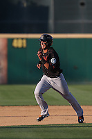 Tim Lopes (5) of the Bakersfield Blaze runs the bases during a game against the Rancho Cucamonga Quakes at LoanMart Field on June 1, 2015 in Rancho Cucamonga, California. Rancho Cucamonga defeated Bakersfield, 5-2. (Larry Goren/Four Seam Images)