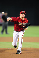 Sept. 8, 2010; Phoenix, AZ, USA; Arizona Diamondbacks pitcher Daniel Hudson throws in the first inning against the San Francisco Giants at Chase Field. Mandatory Credit: Mark J. Rebilas-