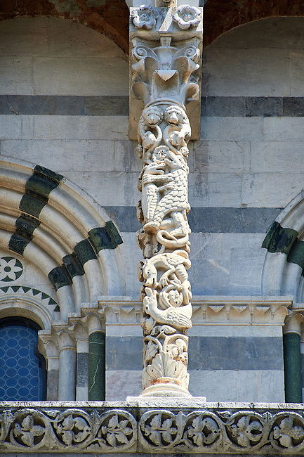 Close up of a13th century Romaesque arcade pillar of the Cattedrale di San Martino,  Duomo of Lucca, Tunscany, Italy,