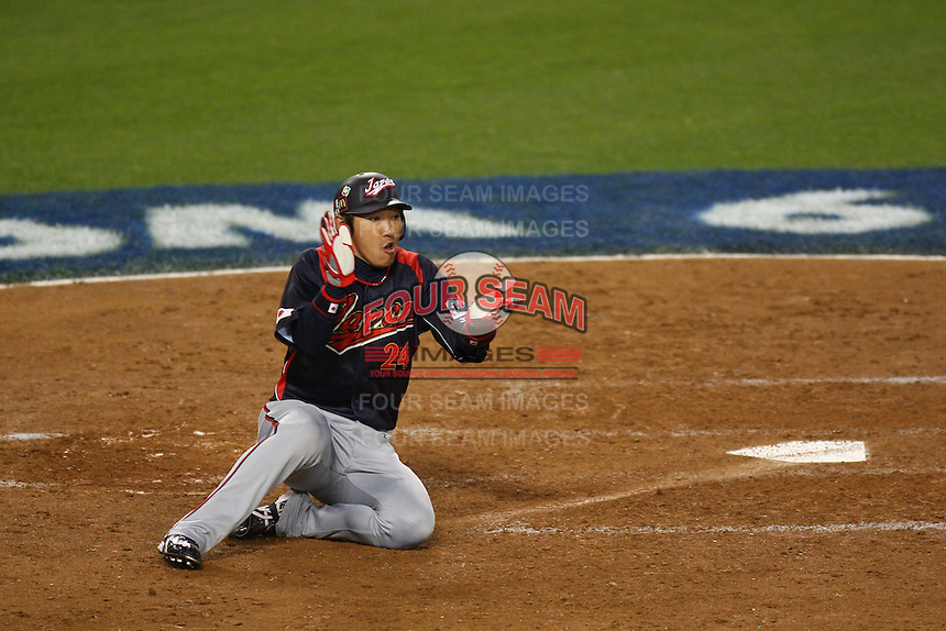 Seiichi Uchikawa of Japan during a game against Korea at the World Baseball Classic at Dodger Stadium on March 23, 2009 in Los Angeles, California. (Larry Goren/Four Seam Images)
