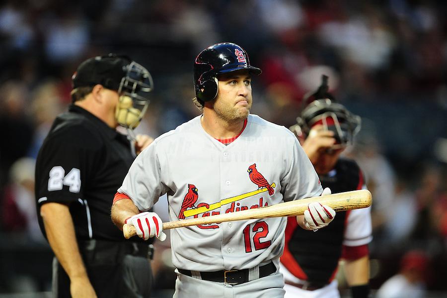 Apr. 11, 2011; Phoenix, AZ, USA; St. Louis Cardinals outfielder Lance Berkman against the Arizona Diamondbacks at Chase Field. Mandatory Credit: Mark J. Rebilas-