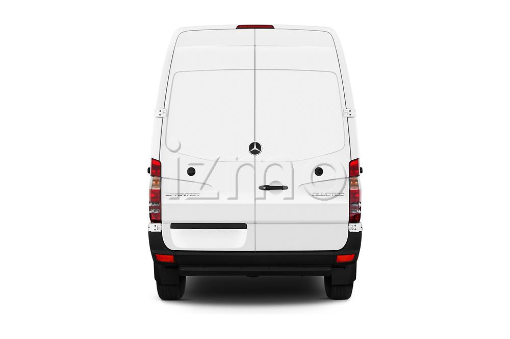 Straight rear view of 2017 Mercedes Benz Sprinter Base 4 Door Cargo Van stock images