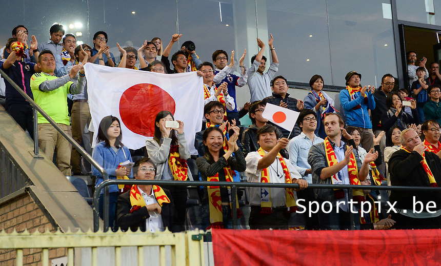 20170613 - LEUVEN ,  BELGIUM : Japanese fans and supporters pictured during the friendly female soccer game between the Belgian Red Flames and JAPAN , a friendly game in the preparation for the European Championship in The Netherlands 2017  , Tuesday 13 th June 2017 at Stadion Den Dreef  in Leuven , Belgium. PHOTO SPORTPIX.BE | DAVID CATRY