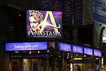 "Theatre Marquee for ""Anastasia"" starring Christy Altomare and Cody Simpson at the Broadhurst Theatre on November 29, 2018 in New York City."
