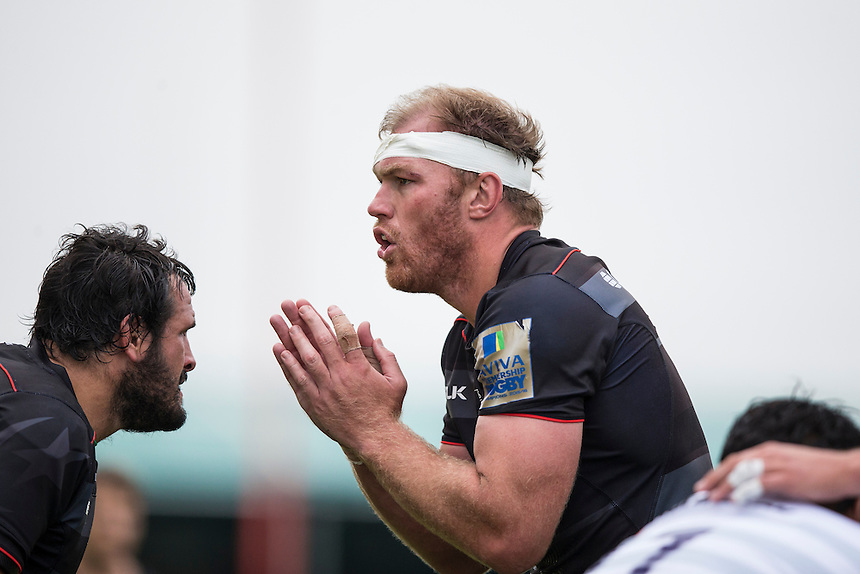 Saracens&rsquo; Schalk Burger stands ready for action in a lineout<br /> <br /> Photographer Craig Mercer/CameraSport<br /> <br /> Aviva Premiership - Saracens v Northampton Saints - Saturday 17 September 2016 - Allianz Park - Hendon, London<br /> <br /> World Copyright &copy; 2016 CameraSport. All rights reserved. 43 Linden Ave. Countesthorpe. Leicester. England. LE8 5PG - Tel: +44 (0) 116 277 4147 - admin@camerasport.com - www.camerasport.com