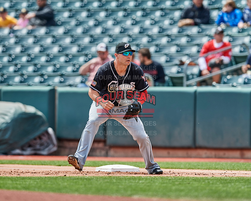 Jamie Romak (4) of the El Paso Chihuahuas on defense against the Salt Lake Bees in Pacific Coast League action at Smith's Ballpark on April 30, 2017 in Salt Lake City, Utah.  El Paso defeated Salt Lake 3-0. This was Game 1 of a double-header. (Stephen Smith/Four Seam Images)