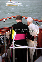 Pope Benedict XVI  arrivesaboard a boat to  to meet citizens at St Mark's square in Venice during his pastoral visit to Aquilea and Venice, in Venice, Italy, 07 May 2011.