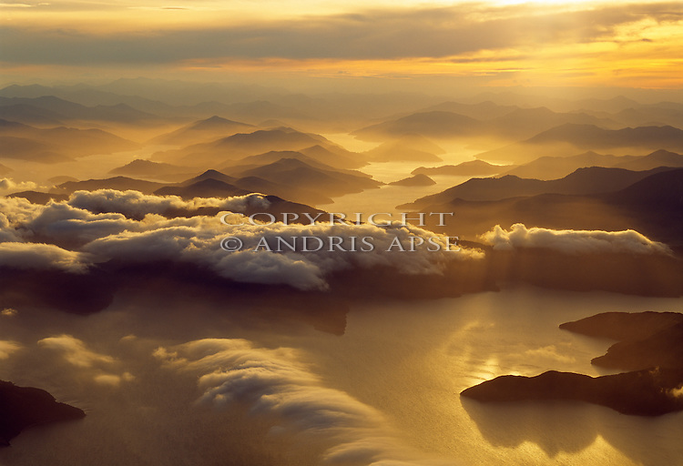 Aerial of Kenepuru Sound. Marlborough Sounds. Marlborough Region. New Zealand.