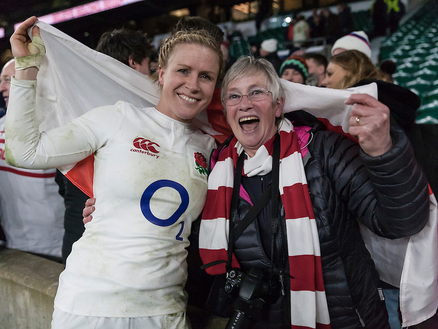 Danielle Waterman and her mum post match, England Women v France Women in a 6 Nations match at Twickenham Stadium, London, England, on 4th February 2017 Final Score 26-13.