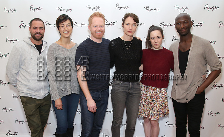 Ian Harvie, Cindy Cheung, Jesse Tyler Ferguson, Dolly Wells, Talene Monahon, and Phillip James Brannon. attends the photo call for Playwrights Horizons world premiere production of 'Log Cabin' on May 8, 2018 at Playwrights Horizons rehearsal hall in New York City.