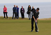 Brian O'Driscoll (AM) on the 10th green during Round 3 of the 2015 Alfred Dunhill Links Championship at Kingsbarns in Scotland on 3/10/15.<br /> Picture: Thos Caffrey | Golffile