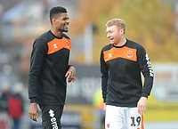 Blackpool's Chris Taylor (right) chats with Michael Nottingham during the pre-match warm-up <br /> <br /> Photographer Kevin Barnes/CameraSport<br /> <br /> Emirates FA Cup First Round - Exeter City v Blackpool - Saturday 10th November 2018 - St James Park - Exeter<br />  <br /> World Copyright &copy; 2018 CameraSport. All rights reserved. 43 Linden Ave. Countesthorpe. Leicester. England. LE8 5PG - Tel: +44 (0) 116 277 4147 - admin@camerasport.com - www.camerasport.com