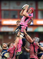James Freeman of Exeter Chiefs wins the ball at a lineout. Anglo-Welsh Cup Final, between Bath Rugby and Exeter Chiefs on March 30, 2018 at Kingsholm Stadium in Gloucester, England. Photo by: Patrick Khachfe / Onside Images