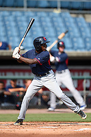 Isaiah White (4) of Greenfield School in Wilson, North Carolina playing for the Cleveland Indians scout team during the East Coast Pro Showcase on August 1, 2014 at NBT Bank Stadium in Syracuse, New York.  (Mike Janes/Four Seam Images)