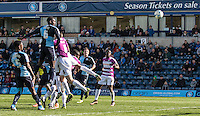 Aaron Pierre of Wycombe Wanderers heads a shot at goal during the Sky Bet League 2 match between Wycombe Wanderers and Barnet at Adams Park, High Wycombe, England on 16 April 2016. Photo by Andy Rowland.