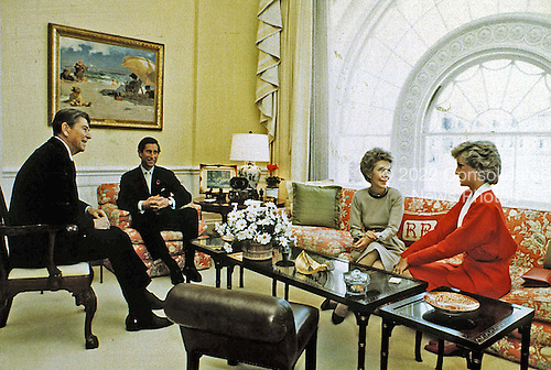 In this photo provided by the White House, United States President Ronald Reagan and First Lady Nancy Reagan have tea with Prince Charles and Princess Diana in the White House Residence in Washington, DC on November 9, 1985.<br />