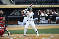 Logan Harvey (15) of the Wake Forest Demon Deacons at bat against the Sacred Heart Pioneers at David F. Couch Ballpark on February 15, 2019 in  Winston-Salem, North Carolina.  The Demon Deacons defeated the Pioneers 14-1. (Brian Westerholt/Four Seam Images)