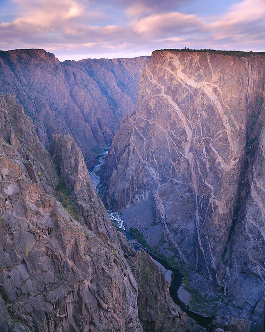Sunrise over the Painted Wall in the Black Canyon of the Gunnison National Park, Colorado, USA