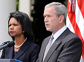 United States President George W. Bush, joined by US  Secretary of State Condoleezza Rice, delivers a statement on the Russian-Georgian conflict in South Ossetia in the Rose Garden at the White House in Washington on August 13, 2008. <br /> Credit: Kevin Dietsch / CNP