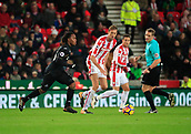 2nd December 2017, bet365 Stadium, Stoke-on-Trent, England; EPL Premier League football, Stoke City versus Swansea City; Renato Sanchez of Swansea City moves into attack watched by Peter Crouch of Stoke City